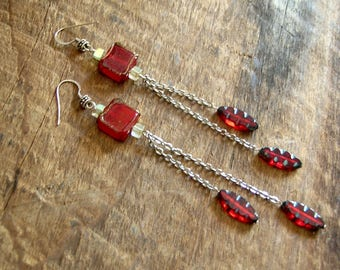 Red Square Glass Dangle Earrings