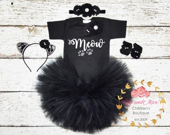Halloween Cat Costume, Cat costume Halloween, Baby cat costume, Toddler cat costume, Cat themed tutu set, Meow girl outfit, Black cat tutu