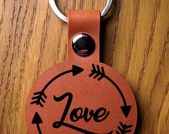 Love Leather Keychain, Personalized Leather Keychains, Brown - Black Matte - Natural Tan