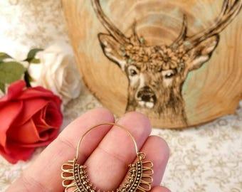 Hoop Earrings, unique design, Tribal Brass Earrings, Brass Earrings, Boho Earrings. Gypsy Earrings. Ethnic Earrings, festival jewelry.