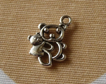 Bear Charms, Animal Charms, Antique Silver Tone Double Sided Bear with Baby Charms, Necklace Charms Pendants Charms for Anklets