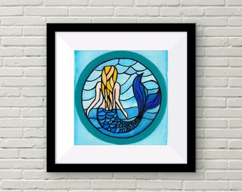 Stained Glass Mermaid / Mermaid Art Print / Michael Anderson Memorial Piece {Watercolor Print 5X7} -- FREE SHIPPING --