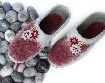 Men Slippers Felted Wool Shoes Gray Minimalism Electrician Mechanic Handyman Master Felt Shoes Work Cozy Woolen Clog Husband Father Dad Gift