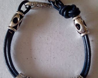 Navy blue leather and silver bracelet