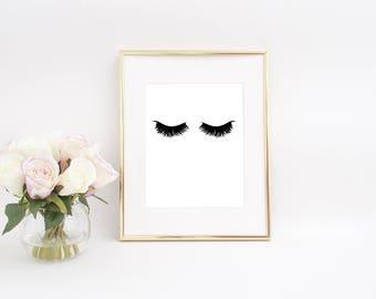 Eyelashes Printable, Eyelashes Print, Lashes Printable, Lashes Print, Makeup Printable, Makeup Print, Bathroom Wall Decor, Bedroom Wall Art