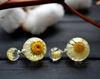 Flower jewellery - Double sided earrings with chamomiles - flower double stud earrings - chamomile earrings - chamomile front back earrings