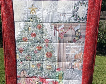 Night Before Christmas Embroidered, Quilted Wall Hanging
