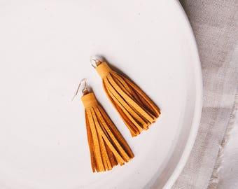 Mustard Yellow Leather Tassel Earrings