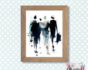 """Art to print """"Fashion"""", digital watercolor, modern illustration to print, fancy instant home decor, wall art to print, fashion illustration"""