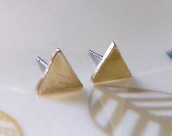Gold Plated Triangle Earrings Minimalist Dainty Simple | Geometric Jewelry Minimal Jewelry Minimal Jewellery Minimal Earrings Gold Studs