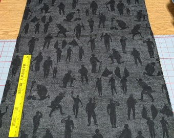 Home of the Brave-Soldiers on Black Cotton Fabric from Moda