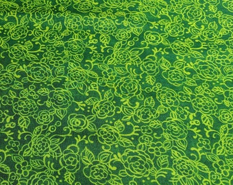 Pretty In Pink-Green Outlined Flowers on Green Cotton Fabric from Paintbrush Studios