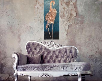 Textured heron art original painting gold teal fine art on ready to hang canvas 40x16