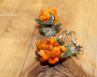 Cloudberry berry earrings