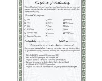 100 Certificate of Authenticity, Appraisal Certificate for Jewelry, Watches, Gold, Diamond, Silver,Steel Authenticity Certificate Wholesale