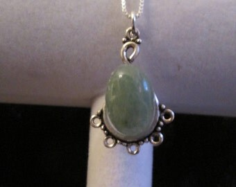 "Jade Gemstone & Sterling Silver Pendant with an 18"" Sterling Box Chain"