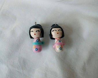 Kokeshi Dolls - Polymer clay - Handmade - Charm