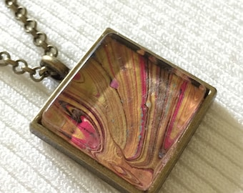 Hand made modern marble pendant necklace
