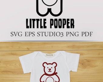 Little Pooper onesie design. Baby clothing design in SVG EPS. Heat Transfer DIY. Teddy Bear svg, nursery clipart, cute file for cricut svg