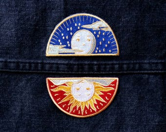 Sun and Moon Applique Iron on Patch - Orange, Black, and Gold - DIY Embroidered Patch