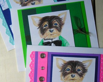 Yorkie Wedding Card--Original Drawing--Prismacolor Pencils--Multiple Colors--Envelopes Included