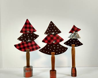 Plaid Trees, red check, polka dots, recycled materials