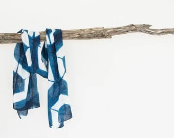 Summer Scarf, Blue Scarf, Shibori Scarf, Geometric Scarf, Boho Scarf, Hand Dyed Scarf, Womens Scarves, Gifts for Her Birthday, Cotton Scarf