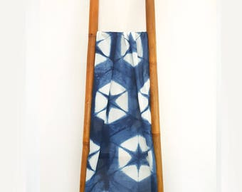 Blue Cotton Scarf, Blue Scarf, Cotton Scarf, Indigo Blue Scarf, Soft Cotton Scarf, Star Scarf, Shibori Scarf, Mothers Day Scarf, Mum Gift
