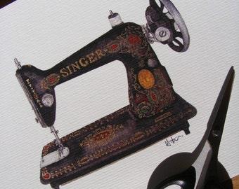 Singer Sewing Machine   Illustration Print