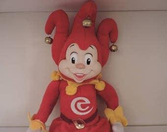 Pardoes Efteling, Jester doll, Vintage clown, Harlequin, Fool, 80s toy, Joker doll, Clown toy, Doll, Plush stuffed jester doll, Red jester