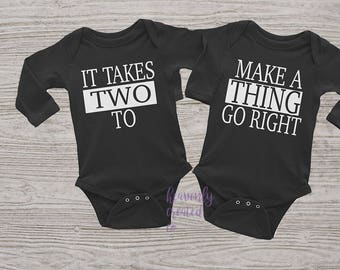 Twin It take two -  Twin Clothing-Baby Clothes-Baby Clothing-Twin Clothing - Twin Clothes - Fun Twin Onesie - Fun Twin Clothes - Cute Twins