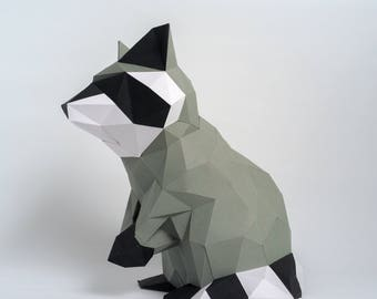 Pre-cut and Pre-scored Raccoon Kit - Low Poly Animal