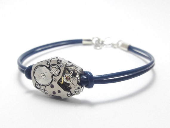 Men's bracelet blue leather with a LIP watch mechanism