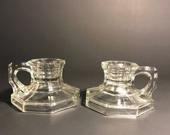 Vintage Octagonal Chamberstick Candle Holder Pair, Indiana Glass IN-77 No6