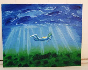 Underwater Acrylic Canvas Painting