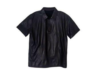 Vintage Black Lambskin Leather Short Sleeve Collared Men's Shirt