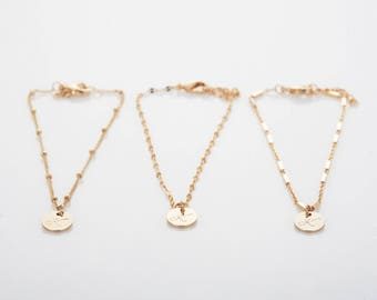 Gold Initial Charm Bracelet, Rose Gold Satellite Chain Bracelet, Silver Disc Lace Chain Bracelet, Dainty Layering Bracelet, Gift for Woman