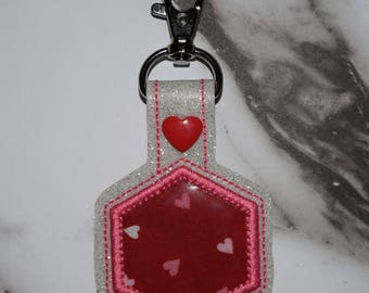 Hexagon Hearts Applique Valentine's Day Keychain Gift