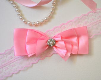 Bling cat bow tie - cute satin bow tie for cat collars - slide on cat bow tie