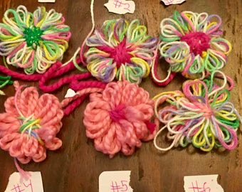 Yarn Flower Decorations ~ Choose 3 to make a set