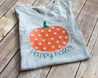Happy Fall, Girls Happy Fall Shirt, Girls Fall Shirt, Girls Shirt for Fall, Fall Pumpkin Shirt, Girls Pumpkin Shirt, Pumpkin Shirt for Fall