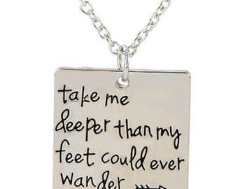 Necklace, Take me deeper than my feet could ever wander, Hillsong United, Oceans, jewellery, Christian, inspirational, gift, ocean jewelry