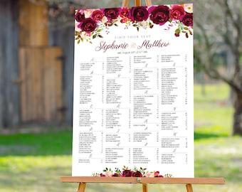 Burgundy Wedding Seating Chart, Wedding seating chart, Wedding seating chart alphabetical, Wedding Seating chart, Wedding decorations