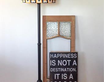 Vintage Black Standard Lamp with Flower Power Shade