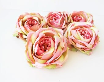"11 English Roses Heads Pink Green Artificial Silk Flowers Rose 4"" Floral Hair Accessories Flower Supplies Faux Fake DIY Wedding"