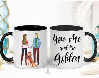 You, me and the Golden Mug , Couple with golden Retriever Mug , Golden Retriever Mug, Golden Retriever Mom Gift, Golden Retriever Gift