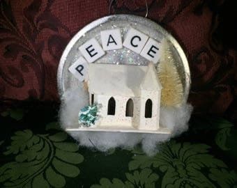 Vintage Tart Tin Ornament Filled with PUTZ church  Glitter and PEACE Letters