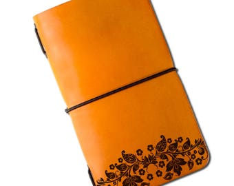 Flowers engraved personalize  travel  handmade leather notebook