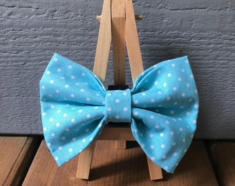 Blue Polka Dot Dog Bow Tie
