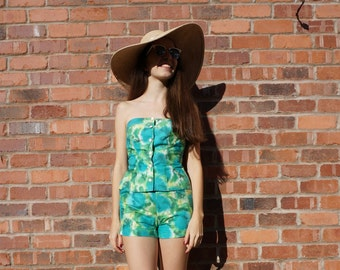 1950's Sportaville watercolour two-piece playsuit (top and shorts)